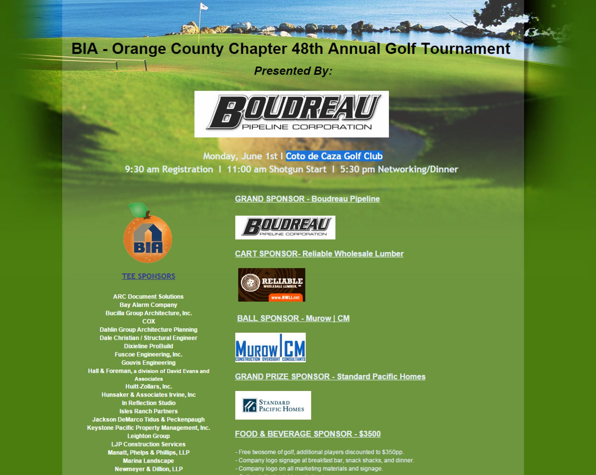 BIA/OC 48th Annual Golf Tournament presented by Boudreau Pipeline