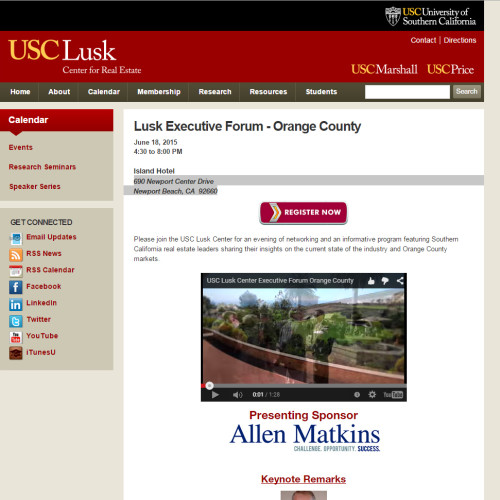 Lusk Executive Forum – Orange County